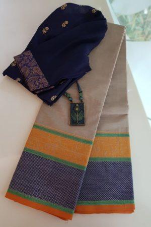 Beige kanchi cotton saree with corner butta