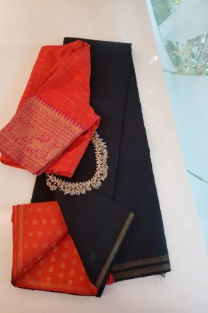 Black orange kanchi silk saree