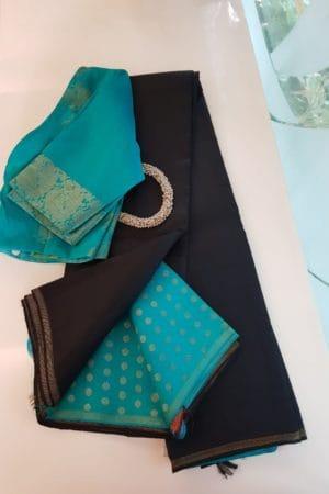 Black teal kanchi silk saree