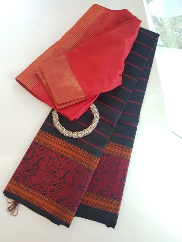 Black veldhari thread work saree