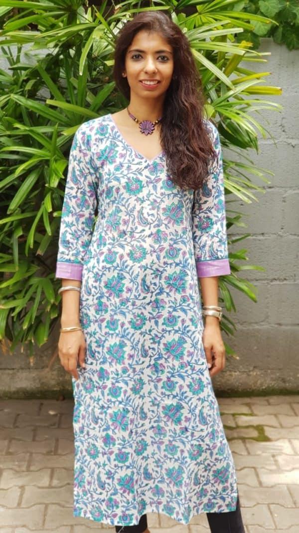 Blue white printed cotton kurta