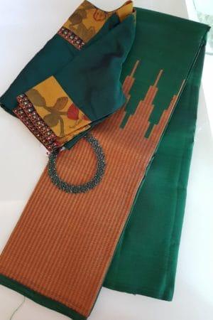 Bottle green and maroon rekhu kattam saree