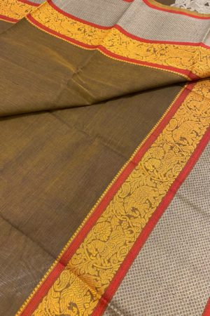 Brown kanchi cotton saree with corner butta 1