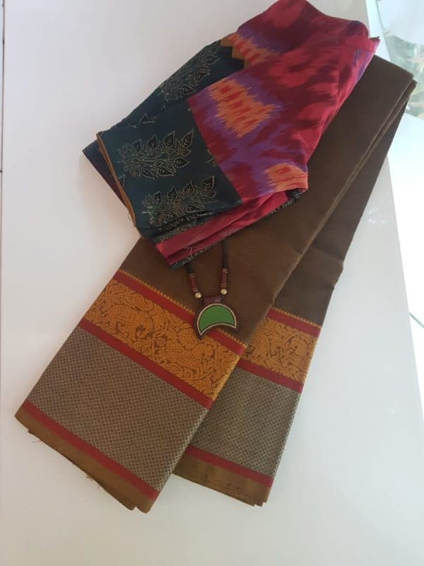 Brown kanchi cotton saree with corner butta