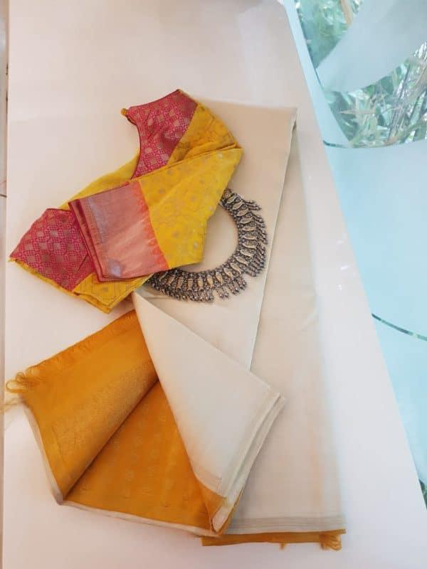 Cream and yellow kanchi silk saree 1