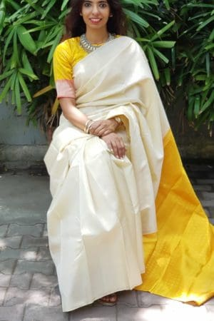 Cream and yellow kanchi silk saree