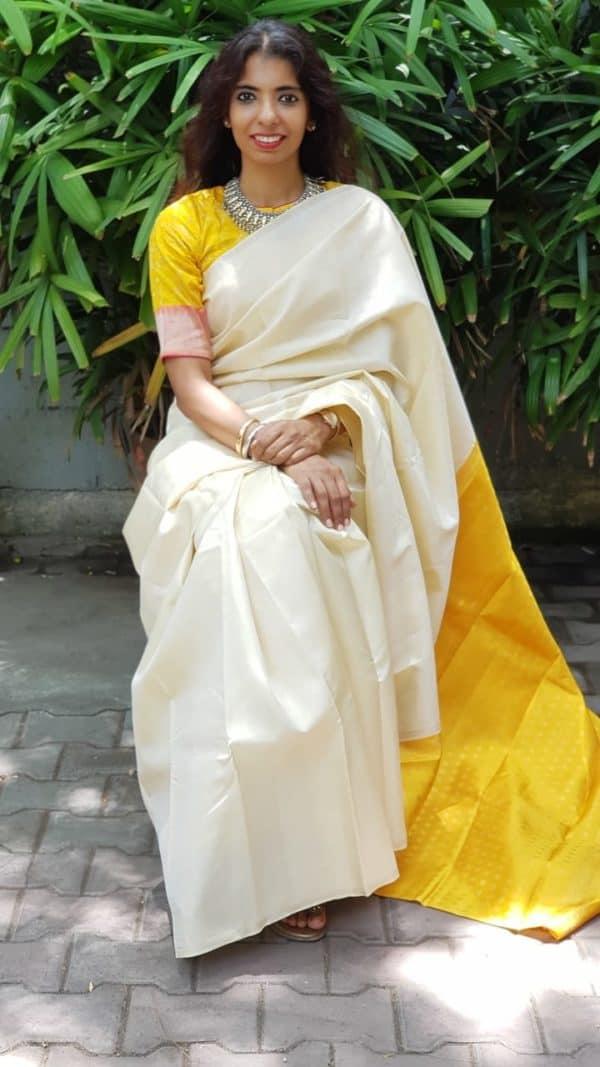 Cream and yellow kanchi silk saree
