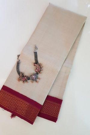 Cream kanchi silk dupatta with maroon korvai border