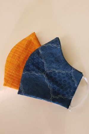 Face mask cotton blue orange