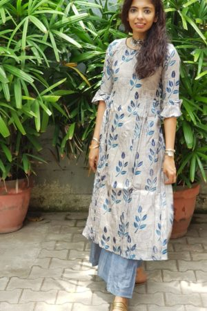 Grey blue printed tussar kurta