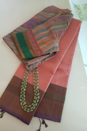 Light pink threadwork silk saree