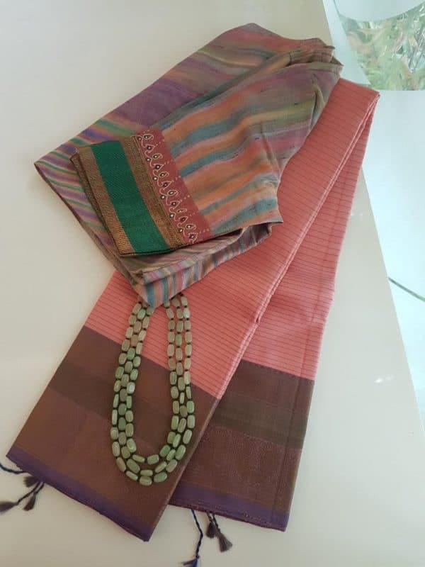 Light pink threadwork silk saree