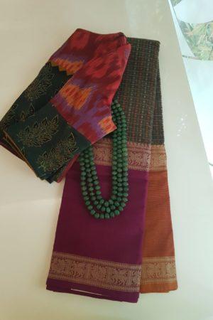 Manthulir kanchi cotton saree with ganga jamuna saree