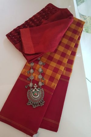 Maroon mustard checks kanchi silk korvai saree