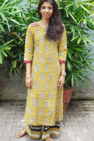 Mustard block printed kurta with pangts