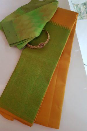 Mustard green rekhu kattam saree