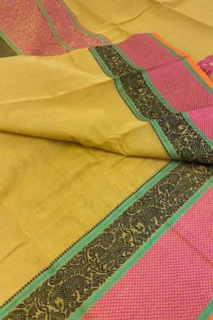 Mustard kanchi cotton saree with corner butta 1