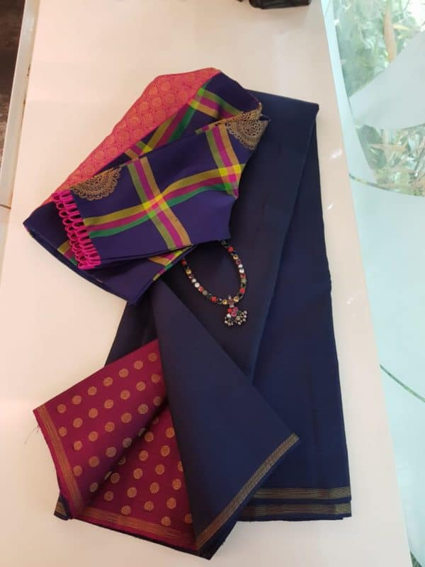 Navy burgundy kanchi silk saree
