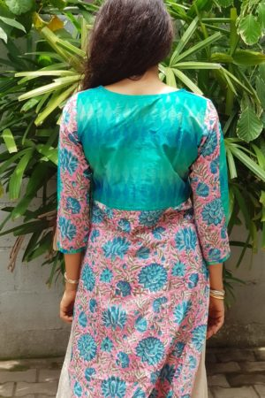 Pink blue printed cotton kurta with ikat detail 1