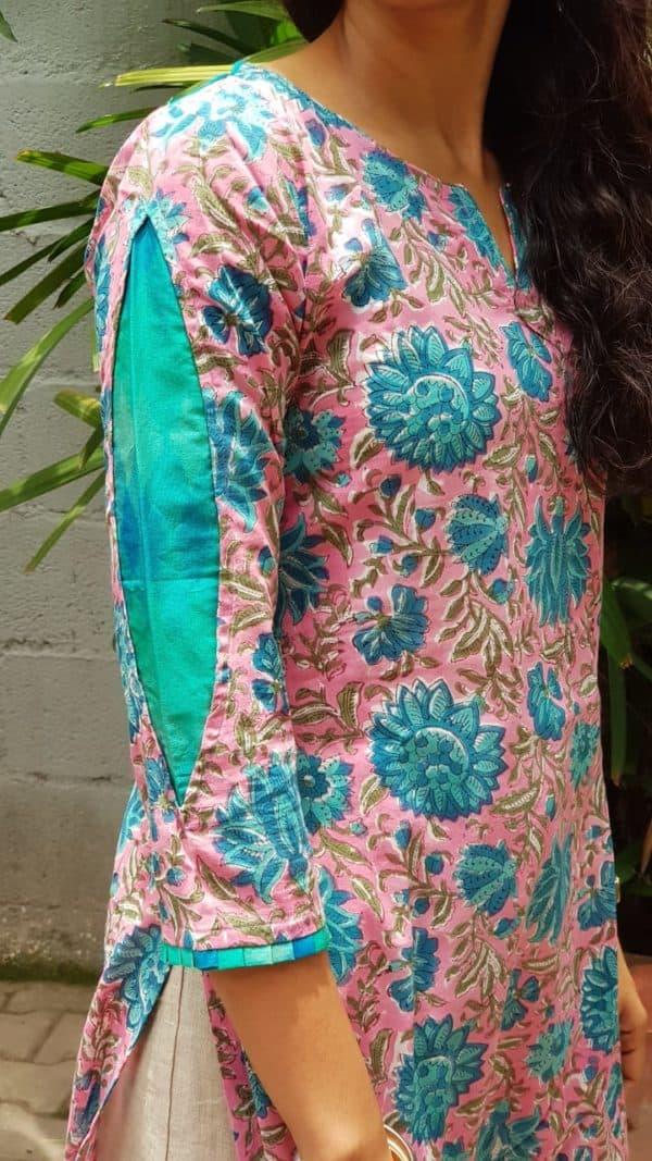 Pink blue printed cotton kurta with ikat detail 2