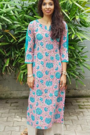 Pink blue printed cotton kurta with ikat detail