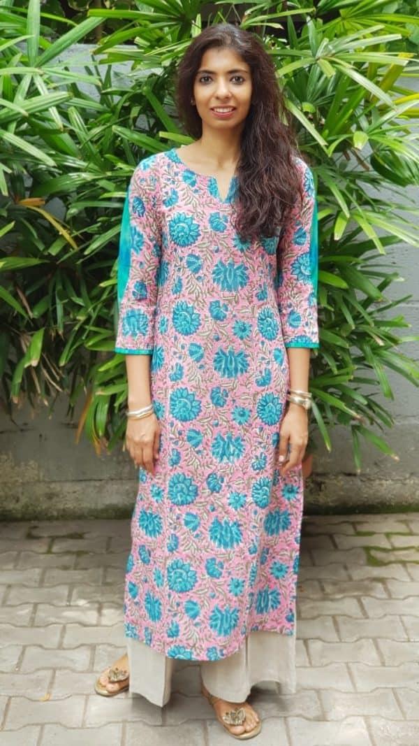 Pink blue printed cotton kurta with ikat detail
