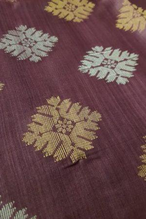 Plum kosa saree with gold and silver 1