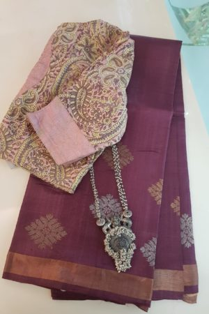 Plum kosa saree with gold and silver