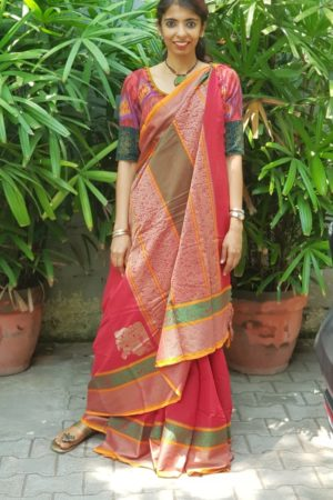 Red kanchi cotton saree with corner butta 1