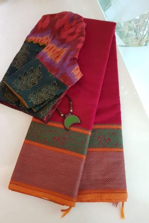 Red kanchi cotton saree with cornet butta