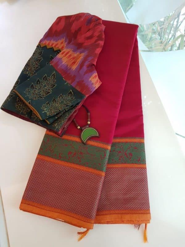 Red kanchi cotton saree with cornet butta