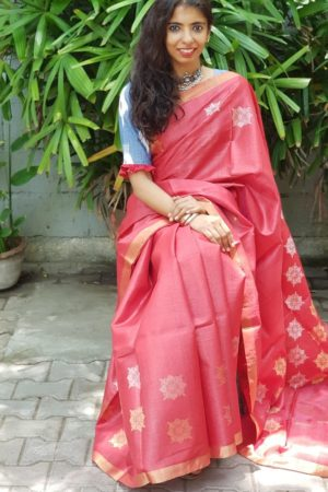 Red kosa saree with gold and silver 3