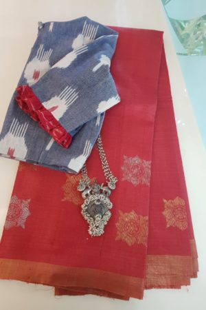 Red kosa saree with gold and silver