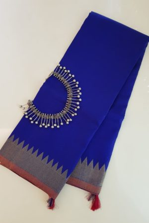 Royal blue kanchi silk dupatta 1