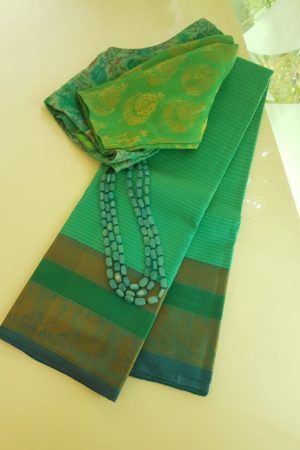 Sea green striped threadwork silk saree