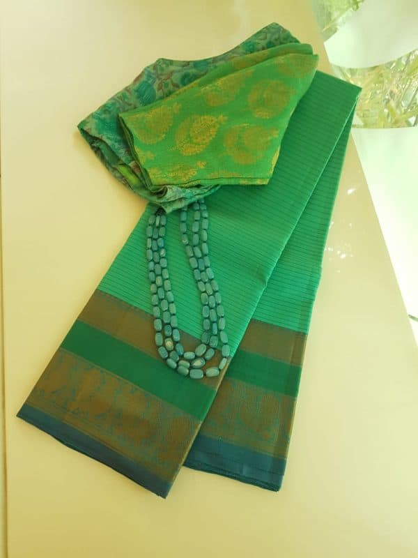 Sea green striped threadwork silk saree
