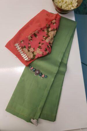 cardamon green lavanayam silk saree