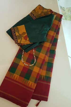 maroon green paalum pazhamum checks kanchi silk korvai saree 1