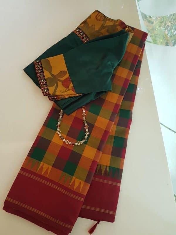 maroon green paalum pazhamum checks kanchi silk korvai saree 1