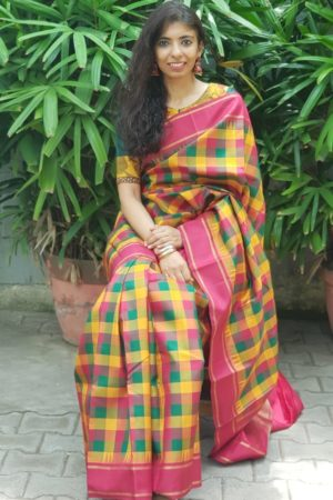 maroon green paalum pazhamum checks kanchi silk korvai saree