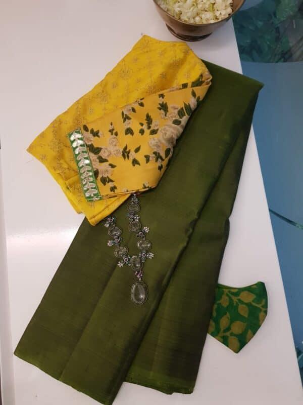 mehandi green lavanyam silk saree