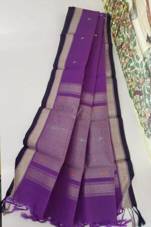 purple with buttis and silver zari