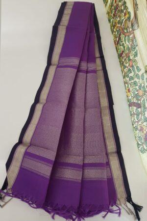purple with silver zari dupata