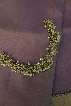 Antique Silver necklace with kundan stones