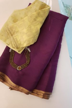 Wine plain chiffon saree