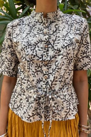 Beige and black floral long blouse