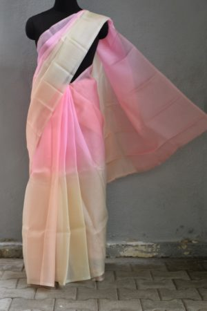 Beige pink shaded organza saree 1