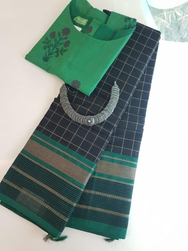 Black kanchi cotton saree with green border