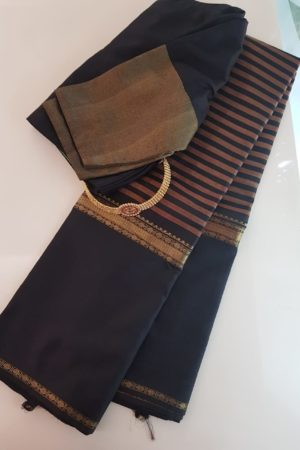 Black kanchipuram silk saree with horizontal lines