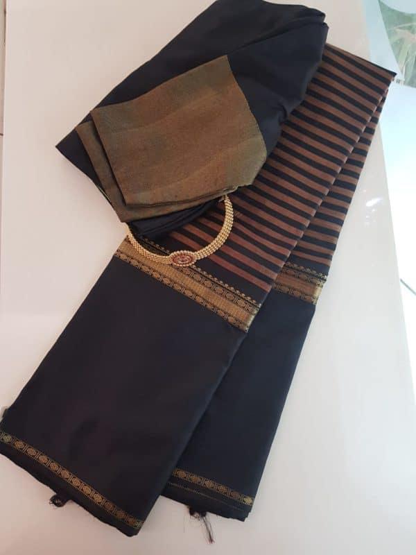 Black kanchipuram silk saree with horizontal lines